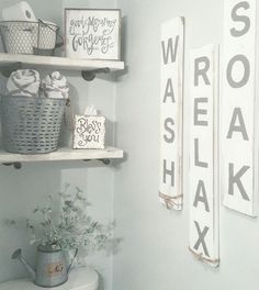 Examine this significant illustration in order to take a look at the here and now tips on Simple Bathroom Ideas Modern Farmhouse Bathroom, Farmhouse Decor, Farmhouse Signs, Farmhouse Ideas, Farmhouse Style, Country Bathrooms, White Farmhouse, Rustic White, Small Grey Bathrooms