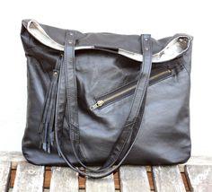 Leather Shopper Bag, Handmade Leather Bag, Hobo Bag, Recycled Leather Bag…