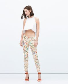 SKINNY TROUSERS WITH FLORAL PRINT, $39.90 sale $25.9   Zara