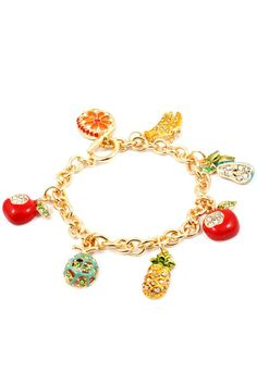 Crystal Sweet Fruit Bracelet - Fun summer accessory.