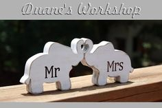 Mr & Mrs Elephants in love elephant trunk heart by DuanesWorkshop