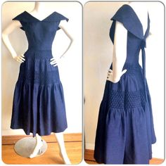 Vintage Navy Blue Rockabilly Dress / Silk Bow Sailor Dress W/ Nautical Theme / Mad Men Henri Bendel Royal Blue Full Skirt Dress Setswana Traditional Dresses, African Fashion Traditional, Seshweshwe Dresses, Nice Dresses, African Fashion Ankara, African Dress, Seshoeshoe Designs, Vintage Style Dresses, Africans
