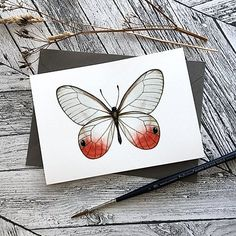 Red Butterfly Card   Bee Designs Red Butterfly, Butterfly Cards, Bee Design, Watercolor, Texture, Pen And Wash, Surface Finish, Watercolor Painting, Watercolour