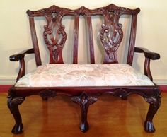 Settee Salesman Sample Carved Mahogany Chippendale Style Loveseat Bench by beachcatsbargains, $1,500.00