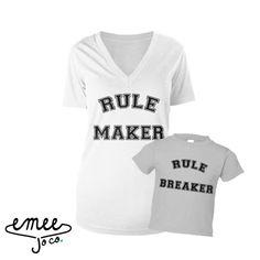 Regel Maker regel Breaker SET moeder en dochter Shirts
