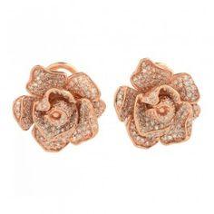 1.38+ctw+Diamond+14K+Rose+Gold+Earrings