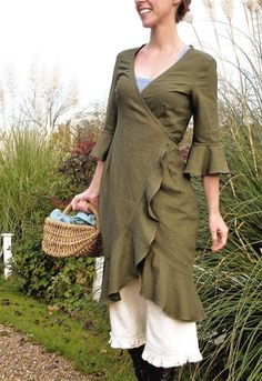 Linen Wrap Dress - lovin the pantaloons underneath still....am i getting too old for this, i am an art teacher.....my daughter said it would be ok