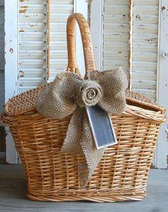 Vintage Basket / Rustic Farmhouse Picnic Basket / by roseflower48, $35.00