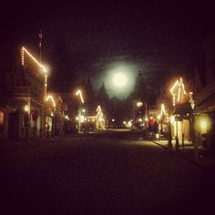Happy Winter Solstice, Nevada City with a full moon, photo by Bill Sander