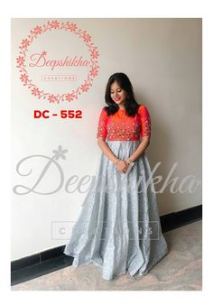 Indian gowns dresses - DC 552 Beautiful floor length dress with hand embroidery work on yoke For queries kindly WhatsApp 9059683293 23 July 2018 Gown Party Wear, Party Wear Indian Dresses, Indian Wedding Gowns, Indian Gowns Dresses, Hoco Dresses, Kalamkari Dresses, Ikkat Dresses, Long Gown Dress, Anarkali Dress