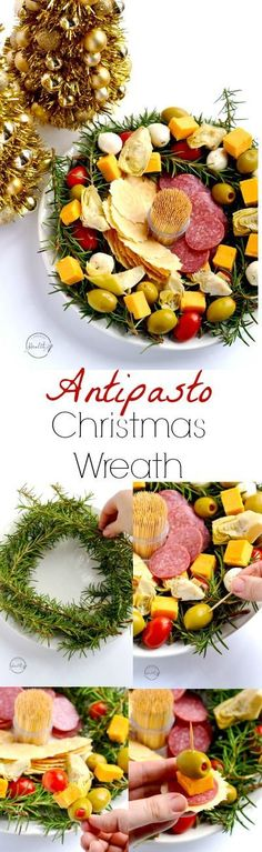 This antipasto Christmas wreath is the perfect easy appetizer for any holiday party, and you don't even have to cook anything. Just pick your favorite meats, cheeses and/ or veggies and assemble.   APinchOfHealthy.com