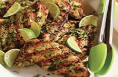 Barbecued marinated chicken breast with lime, coriander, ginger and chilli:  http://www.ibssanoplus.com/low_fodmap_recipe_chicken_lime.html