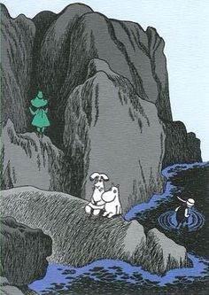Illustration from 'The Exploits of Moominpapa'. The Joxter (Snufkin's father) is… Tove Jansson, Children's Book Illustration, Graphic Design Illustration, Moomin Cartoon, Moomin Books, Poesia Visual, Moomin Valley, Doodle Drawings, Unique Art