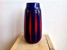 Vintage, retro West German vase. Original item from the 70s. Blue vase with red stripes