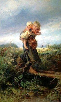 """Маковский Константин """"Дети, бегущие от грозы"""" картина"""