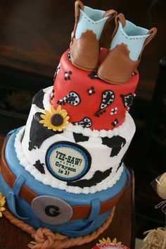 Cowboy birthday. Oh the boots! I die! The barn smash cake is cute too.