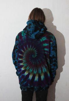 Psychedelic Ice Dye Tye Dye Hoodie Zipper Moonlit Clouds Size XL-XXL