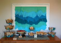 Decorate with teal tissue paper