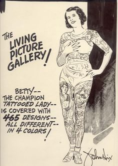 10 tantalizing facts about tattoos, ancient and modern including Betty, the Champion Tattooed Lady #tattoo #history
