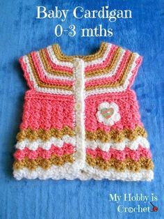 """My Hobby Is Crochet: Crochet baby cardigan """"Stripes and bubbles""""- Free Pattern"""