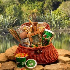 Fisherman's Fishing Creel Gift Basket - Large ~ It's a keeper! This Fishing Creel Gift Basket includes a Fishing Photo Frame, Gummy Worms Fish Bait, a Fishing Mug, delicious snacks and 'The Fisherman's Guide to Life' Book! Gift Baskets For Him, Gourmet Gift Baskets, Gourmet Gifts, Gifts For Him, Food Baskets, Theme Baskets, Basket Gift, Homemade Gifts, Diy Gifts