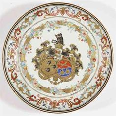 A Chinese famille rose and gilt armorial plate for the Belgian market