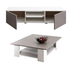 Meuble TV: 140x42x31 cm - Table basse: 89x89x31 cm - En panneaux de particules - Blanc et taupe