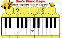 Bees Piano Keys from Solo Time Music Games on TeachersNotebook.com (7 pages)  - Bees Keys! Beginning music students will have fun with these BEE-utiful flashcards to help them in their musical journey learning note placement on the grand staff and the names of the musical alphabet on the piano.