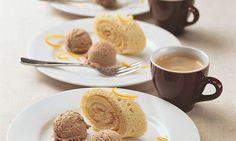 Biskuitroulade mit Espresso-Mousse - Rezepte - Schweizer Milch Mousse, Espresso, Tableware, Desserts, Biscuit, Simple, Baking, Rezepte, Swiss Guard