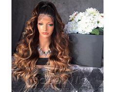 Ombre Full Lace Wig Human Hair 3 Tone Ombre Lace Front Wig Brazilian Virgin Hiar Wavy Ombre 200 density Human Hair Wigs