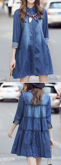 [Newchic Online Shopping] 47%OFF Women A-line Mini Denim Dresses with Turn-down Collar and Half Sleeve
