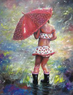 Childrens Wall Art Print little Rain Girl por VickieWadeFineArt
