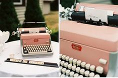I just adore this candy pink typewriter and what a fabulous alternative guest book (note the Scrabble tiles spelling out what needs to be done!).  type out messages to bride and groom
