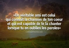 «Un véritable ami est celui qui connaît la chanson de ton coeur et qui est capable de te la chanter lorsque tu en oublies les paroles» #citation #citationdujour #proverbe #quote #frenchquote #pensées #phrases #french #français #lesbeauxproverbes