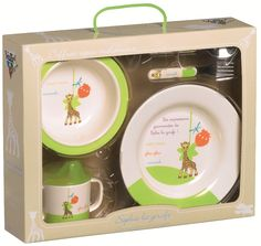 Sophie the Giraffe Melamine Dish set Includes : - a plate with anti-slip underside - a bowl with suction pad, the dish cannot be turned upside down  (the suction pad can be removed to wash easier) a leak proof trainer cup a fork and a spoon suitable for the dishwasher .