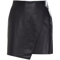 Helmut Lang Stilt Leather Mini Skirt (€310) ❤ liked on Polyvore featuring skirts, mini skirts, bottoms, saias, faldas, black, helmut lang, mini skirt, short mini skirts and leather skirt