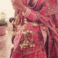 Stylish kaliras with gold balls and chains. Image- Pinterest via Marigold - bollywoodshaadis.com