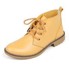 Genuine Leather Waterproof Lace up Women Winter Boots. Fashion FlatsHigh ... b7cf35394345