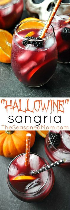 """Sangria """"Hallowine"""" Sangria is a festive and easy cocktail to serve at your adult Halloween party this year!""""Hallowine"""" Sangria is a festive and easy cocktail to serve at your adult Halloween party this year! Halloween Cocktails, Easy Cocktails, Halloween Food For Party, Holiday Drinks, Halloween Birthday, Holiday Treats, Halloween Treats, Cocktail Recipes, Holiday Recipes"""