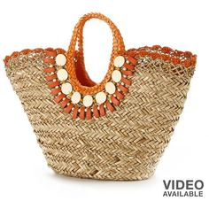 Sun N Sand Beaded Shells Woven Straw Tote ($40) ❤ liked on Polyvore featuring bags, handbags, tote bags, purses, bolsos, orange, woven beach tote, brown tote bag, beach tote bags and woven tote