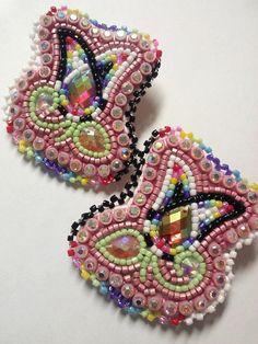 Glamorous Pink beaded flower earrings by WildlyBeadingHearts, $50.00