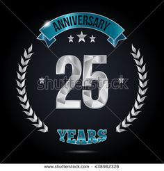 25 Years Silver anniversary logo, low poly design number