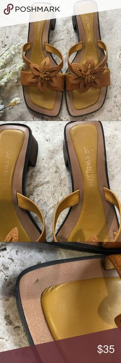 Vintage LIZ CLAIBORNE Leather Sandals MINT condition. Size 8M. **Please see pics 2 and 3 for flaws just on foot pad. No other flaws. Liz Claiborne Shoes Sandals
