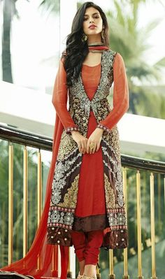 USD 199.01 Orange Embroidered Silk Designer Anarkali Salwar Kameez 27463