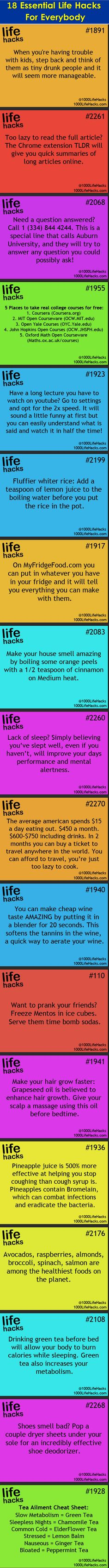 18 essential #lifehacks for everybody.