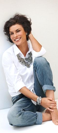 Bold summer style with simple white blouse and statement necklace with jeans.  Summer style over 50 6ca8ac63cc