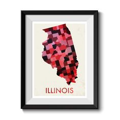 Illinois Map Print. Map Poster. State Poster. Huge sizes available. Printed Canvas Also Available. by MappedMoments on Etsy