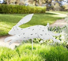 Outdoor Running Bunny Stake #potterybarn