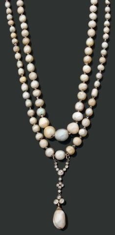 An important pearl, diamond, gold, and silver sautoir, circa 1910. The sautoir of fine pearls, suspending a floral motif pendant set with rose-cut diamonds and a pear-shaped pearl.