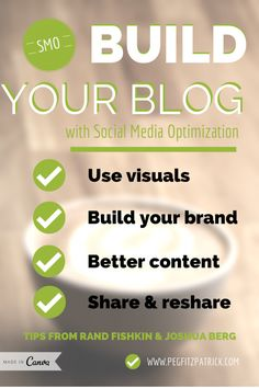 From perhaps my favorite blogger: Build your blog with social media optimization SMO. Peg Fitzpatrick is a social media genius. This is a great piece to learn about effective SMO from.